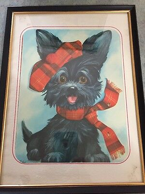 Awesome Vintage Framed Scottie dog By Coby