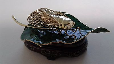 Vintage Chinese Silver Gold plated Cicada on cloisonne leaf with wood stand