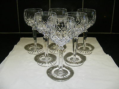 """Superb Waterford Crystal Lismore Wine Goblet Glass Set Of 6 Signed 7 1/2"""" Tall"""