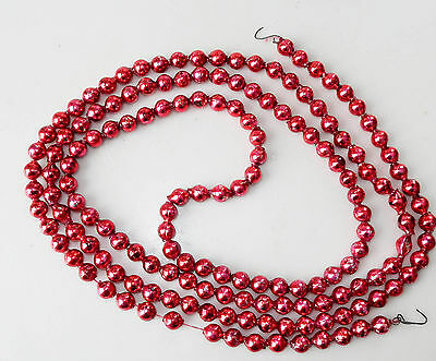 "Vintage 7/16"" Red Beads Glass Christmas Garland 79 Inches Long"