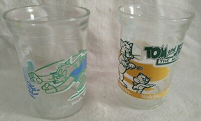 2 Vintage Welchs Tom and Jerry Jelly Glass Jars