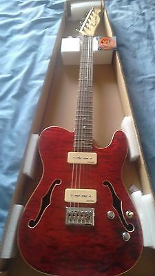 Semi Hollow Electric Acoustic Guitar Maple Body Maple Neck Trans Red
