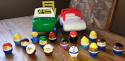 Little Tikes Toddle Tots Vintage People 16 Figures  Lot Car and Green Farm Truck