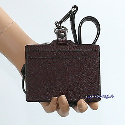 NWT Coach Men's CGT Leather ID Lanyard Card Holder 64069 Oxblood Brown NEW RARE