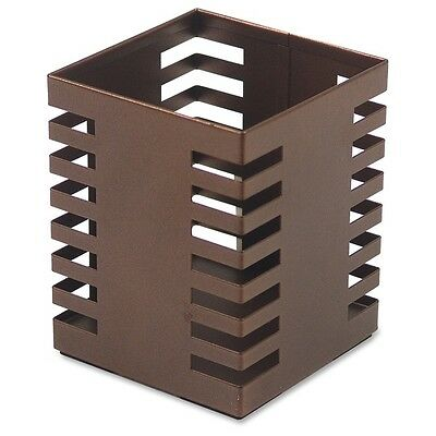 Pen And Pencil Holder Cup For Desk Square Metal Bronze