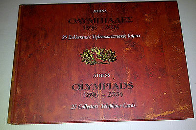 Olympic Memorabilia-Athens Olympiads 1896-2004 Collectors Book+Phone Cards+Dvd