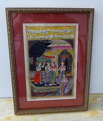 Antique Framed Indian Miniature Hand Painting - Artist Signature ( SALE)