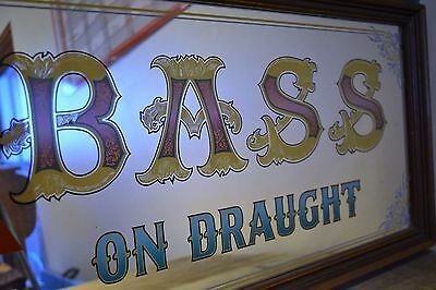'Bass On Draught' Vintage Mirrored Pub Advertising Sign