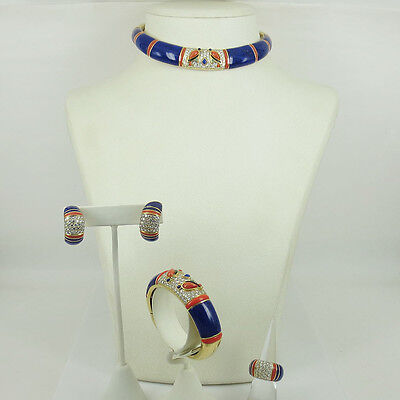 1960's 12ct Diamond Coral & Lapis Lazuli 18K Gold Necklace Earrings Bangle Ring