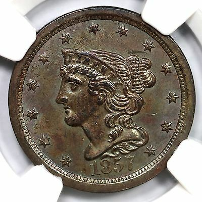 1857 C-1 NGC MS 62 BN Braided Hair Half Cent Coin 1/2c