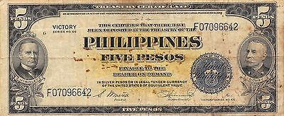 Philippines 5 Pesos ND.1944  P 96 Victory Series WW II Issue Circulated Banknote