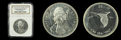 1967 Canada S $1 Double Struck 2nd Rotaded in Collar Mint Error Proof Like 64 NG
