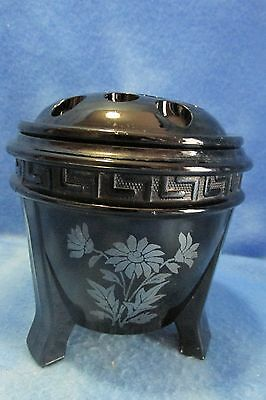 """Vintage L.E. Smith Black Amethyst 5""""  Vase/Urn With Frog and Handpainted Overlay"""