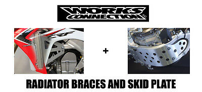 Works Connection Skid Plate & Radiator Guards Braces 06-08 Kawasaki Kx250F