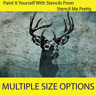 STENCIL - Stags Head Deer vintage home decor Rustic wall painting Country craft