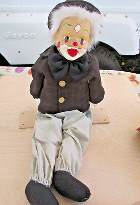 Large 19In. Clown Doll On Swing, Cloth Body Porcelain Head