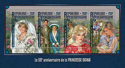 Central African Rep 2016 MNH Princess Diana 55th Birthday 4v M/S Royalty Stamps