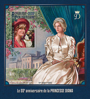 Central African Rep 2016 MNH Princess Diana 55th Birthday 1v S/S Royalty Stamps
