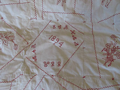 Antique Quilt Handmade Embroidered Handstitched Signed and Dated 1894