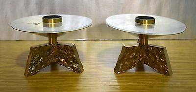 + Pair of Short Solid Bronze Altar Top Candlesticks + chalice co. (CU#444)
