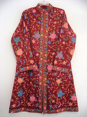 Red with Multi Color Floral Embroidery Silk Long Jacket Kashmir India