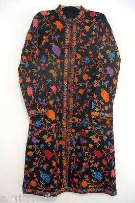 Black with Multi Color Floral Embroidery Wool Long Jacket Kashmir India
