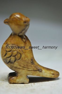 Exquisite Chinese Old Jade Hand Carved Bird Statue G17
