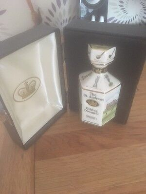 Stunning Fine Porcelain St Andrews Golf Whisky Decanter By Pointers Of London