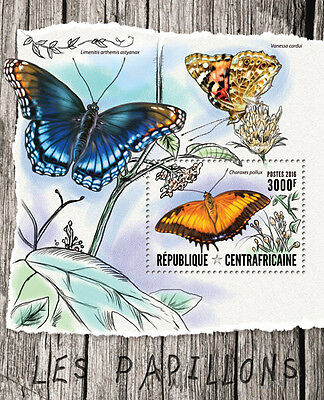 Central African Republic 2016 MNH Butterflies 1v S/S Papillons Insects Stamps