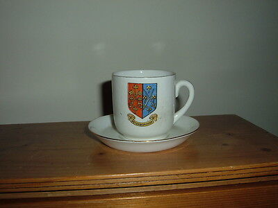 Crested China Cup And Saucer With  'peterborough' Crest - Good Antique Condition
