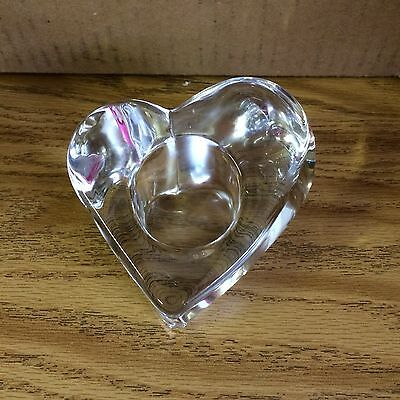Orrefors Crystal VOTIVE HEART CANDLE HOLDER Thick Heavy