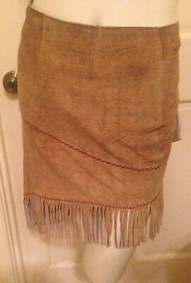 Vintage Vera Pelle Shasa Native American Style Leather Skirt New with Tags