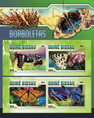 Guinea-Bissau 2016 MNH Butterflies 4v M/S Borboletas Insects Stamps