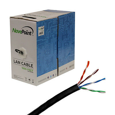 CAT6 1000FT UTP Cable Solid 23AWG Black 550MHz Network Ethernet Bulk Wire LAN