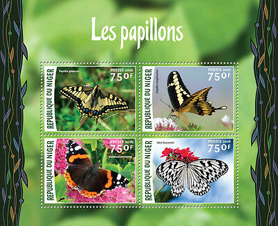Niger 2016 MNH Butterflies 4v M/S Papillons Insects Butterfly Stamps