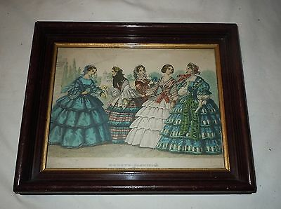 """Antique Deep Walnut Picture Frame w/ 1858 Godey Print 8""""X10""""  6.5""""X8.5"""" Opening"""