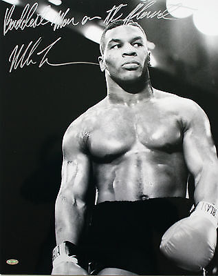 MIKE TYSON SIGNED BOXING PHOTO 16x20 BADDEST MAN ON THE PLANET STEINER COA