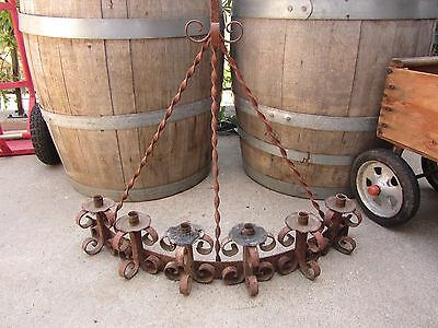 Rare Wrought Iron Antique Large Sconce Candleholder Primitive Hand Forged Old