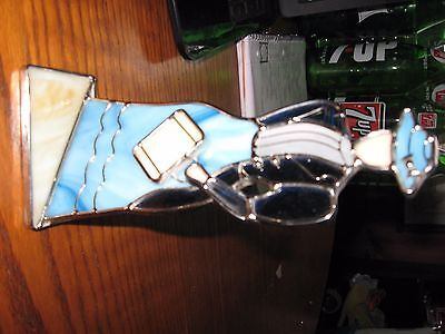 stained glass business woman avon lady suit hat briefcase translucent opalescent