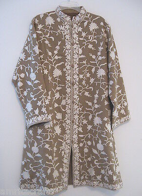 Sandalwood and White Floral Crewel Embroidery Wool Long Jacket Kashmir India