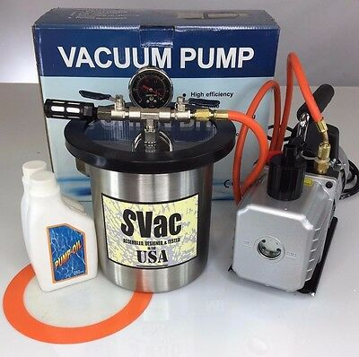 New 1 Gallon Vacuum Chamber and 2.5 CFM Dual Stage Pump Degassing Silicone Kit