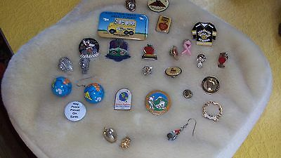 Lot 26 Teacher Lapel Pins 20 yrs, Angels, hockey, Colorado Springs, Earth Day