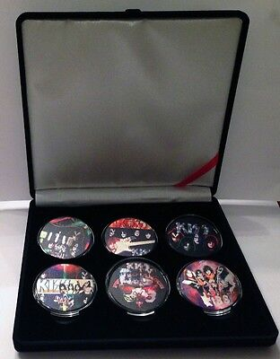 """KISS Rock Band Rare 6 Piece Silver Coin Set REVISED PRICE"""""""
