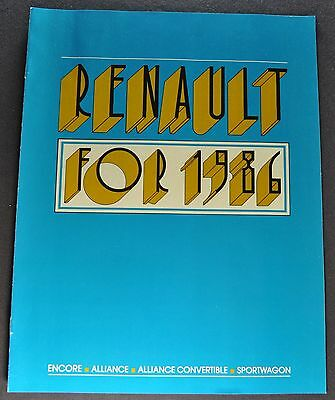1986 Renault Catalog Brochure Alliance Encore Sportwagon Excellent Original 86