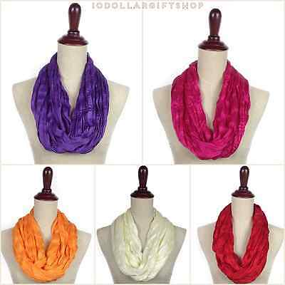 Women's Girls Infinity Scarf Crinkle LightWeight Wrap Spring summer Solid Color