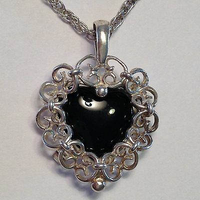"""Sterling Silver Heart Necklace With Removable Black Onyx Heart,  20"""" Chain"""