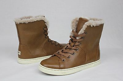 e65d25fc588 UGG AUSTRALIA CROFT Luxe Quilt Chestnut Leather Sheepskin Sneaker ...