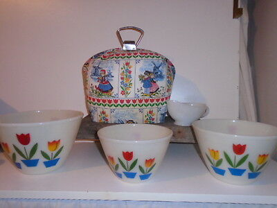 Fire King Tulip Bowls & Super Rare Matching Dutch Tulip T-Pot Carrier Cozy