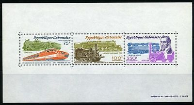 Gabon 1981 sheet trains MNH Sc C251a CV $6.50 170109041