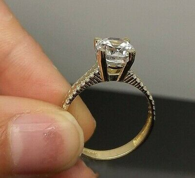 10K Yellow Gold Simulated 1CT Diamond Look Ladies Bridal Engagement,Wedding Ring